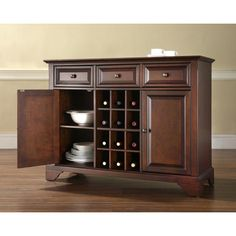Crosley Furniture LaFayette Buffet Server w/ Wine Storage in Vintage Mahogany $438.90