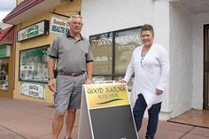 Roy and Lee-Ann Armstrong are the proud new owners of the Good Karma Kitchen, which is set to open next week on Main Street in downtown Osoyoos at the site of the former Meeka's Restaurant besides Mami's Pizzeria. Karma, Family Style Restaurants, Lee Ann, Restaurant Owner, Main Street, Road Trip, Bring It On, Husband, News