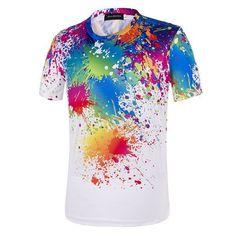 be247bf28 Mens Summer Fashion Casual Colorful Printing O-neck Short Sleeve T-shirt