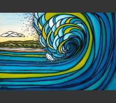 Outer Reef - A vibrant wave crashing on the outer reef by Hawaii surf artist Heather Brown