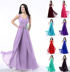 New Long Chiffon Women's Bridesmaid Dresses Formal Party Prom Evening Gown 4-18