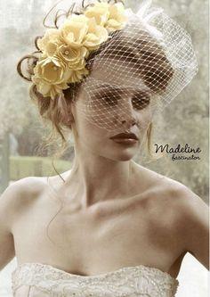 Yellow floral fascinator hat    #Fascinator #Pill box # Netting