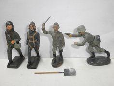 Konvolut 4 alte Elastolin Lineol Fröha Massesoldaten Piloten + Schaufel 7.5cm | eBay