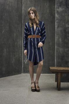 Striped blue shirt dress with a belt for a feminine fit.