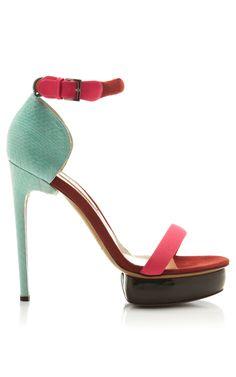 Snakeskin Suede and Patent Leather Platform Sandals by Nicholas Kirkwood - Moda Operandi