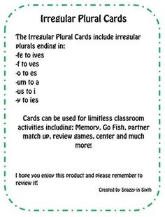 Free Irregular Plural Nouns Cards for memory, go fish, etc. *Matches CA Treasures Unit 2 Week 1