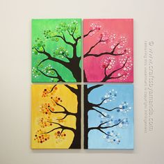 Four Season Button Tree by Amanda Formaro / Crafts by Amanda. This button tree wall art is made from four canvases, paint and colorful buttons. Get step by step instructions so you can make button tree wall art too! Button Tree Canvas, Button Tree Art, Button Wall Art, Art Diy, Diy Wall Art, Canvas Wall Art, Cuadros Diy, Kids Canvas, Metal Tree Wall Art
