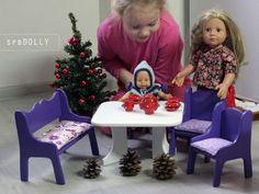 Кукольный пир - набор кукольной мебели: стол, стулья, диван - кукольная мебель