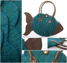 """FELTED FISH BAG - """"FISH Technique: felted Material: wool, leather, steel Handbag made of colored merino wool. The head, the tail and the handles are made of cow leather – work of Varju Tamás. 25 x 6 x 40 cm (Height x Width x Length) Cow Leather, Leather Craft, Felt Fish, Fish In A Bag, Felt Material, How To Make Handbags, Leather Working, Merino Wool, Tote Bag"""