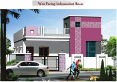 elevations of independent houses House Outer Design, Single Floor House Design, House Front Design, Modern House Design, Front Elevation Designs, House Elevation, Dream House Exterior, Exterior House Colors, South Facing House
