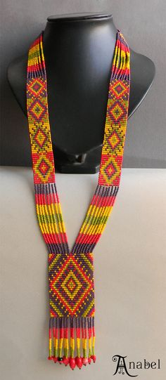 Multicolor  Ethnic Long Beaded Necklace  beadwoven by Anabel27shop, #beadwork