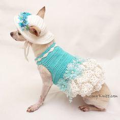 Tiffany Blue Dog Dress with Matching Dog Sun Hat , Dog Bridesmaid Dress, Crochet Lace Dress, Crochet Crochet Dog Clothes, Crochet Dog Sweater, Pet Clothes, Sun Dogs, Pet Costumes, Dog Accessories, Accessories Display, Dog Sweaters, Dog Dresses