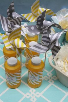 """Photo 1 of 40: Yellow, baby blue, and grey Sunshin' skies / Birthday """"You are my Sunshine 1st Birthday""""   Catch My Party"""