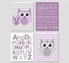 Purple and grey nursery Art Print Set 5x7 Kids by SednaPrints, $32.00