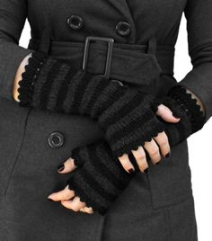 These are great fingerless gloves designed by Veronica O'Neil which can be found on her website VO Knits.com. She has quite a number of unique projects that can be purchased at a fair price.