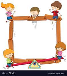 Doodle Kids On Wooden Frame Photo Frames For Kids, School Binder Covers, Math Design, Powerpoint Background Design, School Frame, Calendar Stickers, Preschool Printables, Happy Kids, Classroom Decor