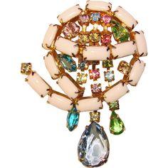 Fabulous Milk Glass & Color Rhinestone Dangles Vintage Brooch