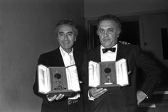 Michelangelo Antonioni et Federico Fellini, au festival de Cannes 1971