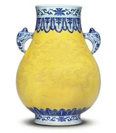 A fine and rare underglaze-blue-decorated, yellow-ground incised pear-shaped vase, Qianlong seal mark in underglaze blue and of the period Blue And White Vase, White Vases, Glass Ceramic, Ceramic Pottery, Chinoiserie, Chinese Ceramics, Chinese Antiques, China Porcelain, Porcelain Ceramics