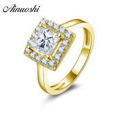 Humor Ainuoshi 10k Solid Yellow Gold Wedding Ring Large 2 Ct Round Cut Sona Simulated Diamond 4 Claws Classic Engagement Women Rings Various Styles Fine Jewelry