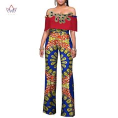 Africa Women Rompers Womens Jumpsuit, African Off Shoulder Long Pants for Women High Waist Bodysuit African Men Fashion, Africa Fashion, African Wear, African Dress, Womens Fashion, African Outfits, African Clothes, African Style, Rompers Women