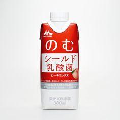 パッケージデザインを森永製菓とコラボした森永乳業「のむシールド乳酸菌ピーチミックス」けっこう美味いよ! #シールド乳酸菌 Package Design, Yogurt, Packing, Soap, Drinks, Bottle, Bag Packaging, Drinking, Beverages