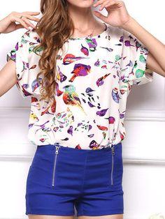Chiffon Print O-neck Short Sleeve T-shirt For Women