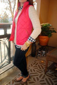 pink J Crew vest, gingham, gold, leopard, layers, love it!