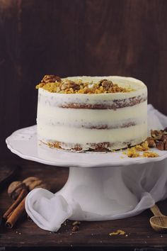 spiced carrot walnut chocOlate cake with cream cheese buttercream Dessert Cake Recipes, Fun Desserts, Delicious Desserts, Food Cakes, Cupcake Cakes, Cupcakes, Christmas Cake Designs, Macarons, Cake With Cream Cheese