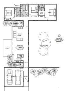 Ideal el tamaño y disposición para proteger al patio del viento. Callisto | Home Design | Energy Efficient House Plans | Green Homes Australia - this one is about 1300 sq ft, northern deck for summer, garage close to main entry
