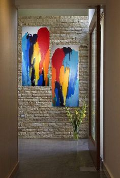 Jane Biven 2012© Abstract Resin Art painting on canvas, colorful contemporary 2 pc' COME TOGETHER' 30 x 30