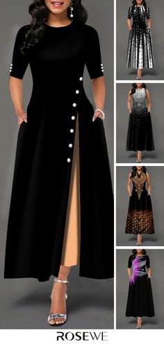 Hot Sale & Half Sleeve Side Slit Button Detail Maxi Dress - - Source by Love_Laughter_ African Fashion Dresses, African Dress, Dress Outfits, Fashion Outfits, Womens Fashion, Jeans Fashion, Fashion Clothes, Pretty Dresses, Beautiful Dresses