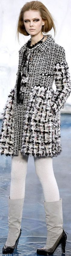 Chanel Fall 2010 RTW.  Multi boucle--would make an interesting coatdress