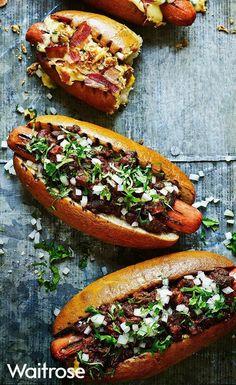 Chorizo chilli dogs – the ultimate hot dog recipe for any barbecue. Find … Chorizo chilli dogs – the ultimate hot dog recipe for any barbecue. Find the recipe on the Waitrose website. Dog Recipes, Sausage Recipes, Cooking Recipes, Waitrose Food, Gourmet Hot Dogs, Chili Dogs, Hot Dog Chili, Burger Bar, Burgers