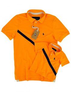 Kit Camisa Polo Tal Pai Tal Filho Listra Premium (Amarelo Ãmbar)