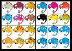 Lottospel Kameleon (gebaseerd op het boek 'de kakelbonte kameleon' Eric Carle