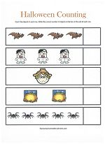 Lots of fun Halloween-themed worksheets for preschoolers--matching, colors, counting, and more!