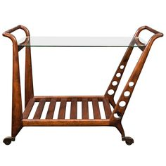 Italian Mid-Century Wooden Drinks Trolly | From a unique collection of antique and modern bar carts at http://www.1stdibs.com/furniture/tables/bar-carts/