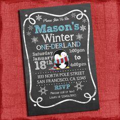 Printable Winter ONEderland Baby Boy's First Birthday Chalkboard Style 4x6 or 5x7 Invitation-Diy