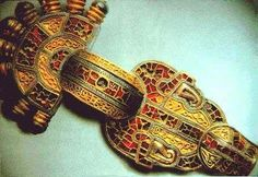 Franconian fibula from the 6th century AD, made of gold and inlayed with gems.