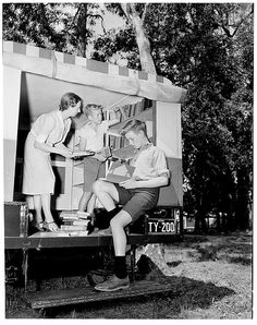 A mobile library providing books to rural areas, 1947