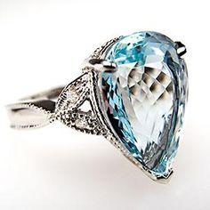 PEAR CUT AQUAMARINE  DIAMOND COCKTAIL RING 14K WHITE GOLD