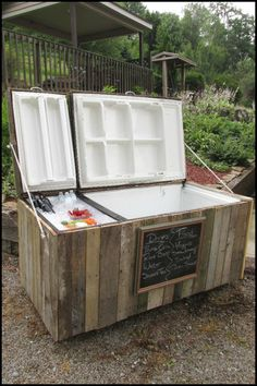 Learn how to turn an old fridge into an awesome rustic cooler