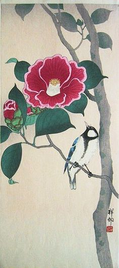 hanga gallery . . . torii gallery: Japanese Bunting and Camellia by Ohara Koson