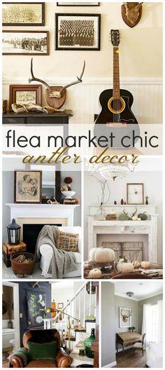 Flea Market Chic: Antler Decor & 833 best ORGANIC Decorating images on Pinterest | Christmas Decor ...