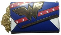 "DC Comics WONDER WOMAN Logo Envelope Wallet With 30"" Chain - Brought to you by Avarsha.com"