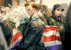 - The funeral. - (Waiting for the Civil War - Steve, Bucky)