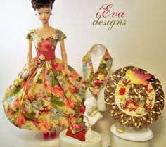 Vintage Roses 2 Silkstone Repro Barbie Doll Dress Hat Clothes OOAK handmade #Unbranded