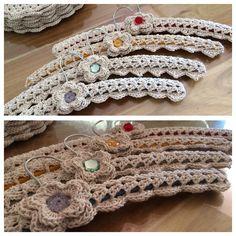 Crochet painted wooden coat hangers