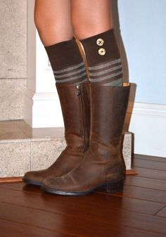 Brown+Boot+Sock+with+decorative+wooden+button+by+WrapItUpStyle,+$16.95